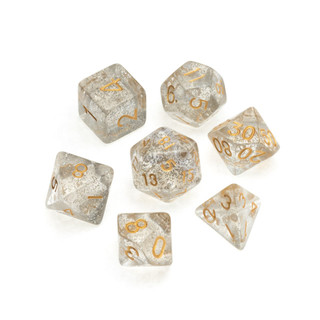 Glitter Series Dice: Clear - Numbers: Gold