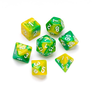 Marble Series Dice: Yellow & Green - Num