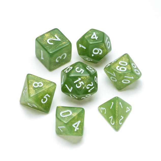 Glitter Series Dice: Green - Numbers: White
