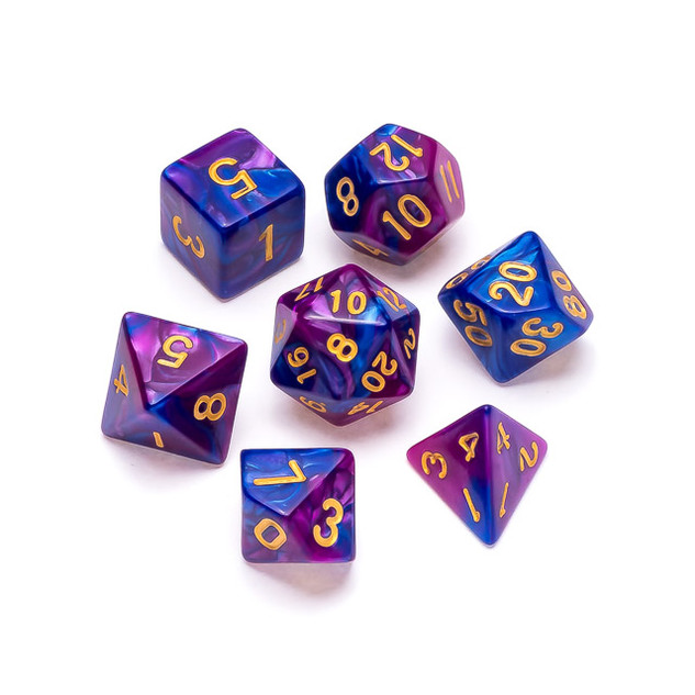 Marble Series Dice: Blue & Purple - Numb