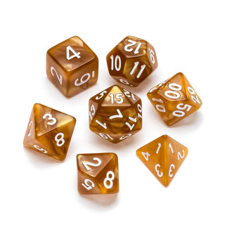 Pearl Series Dice_ Gold - Numbers_ White