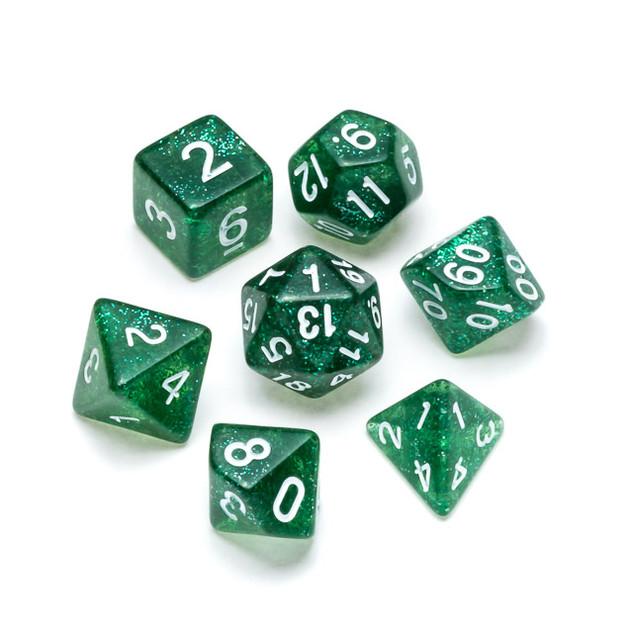 Glitter Series Dice: Dark Green - Numbers: White