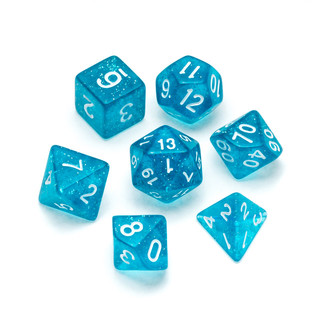 Glitter Series Dice: Light Blue - Numbers: White