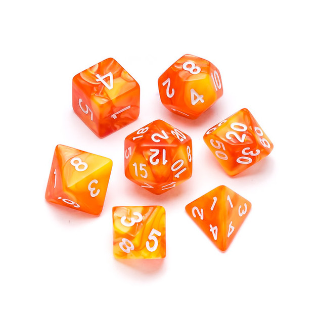 Marble Series Dice: Orange & Yellow - Nu
