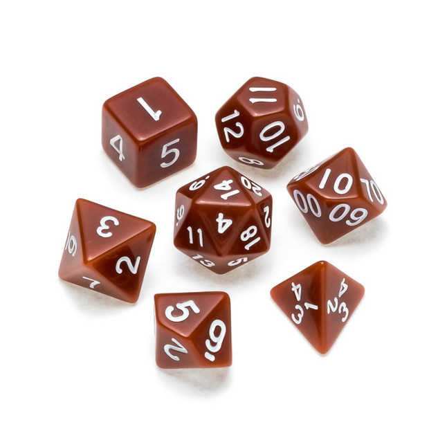 Opaque Series Dice: Brown - Numbers: Whi