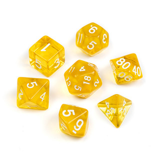 Transparent Series Dice_ Yellow- Numbers