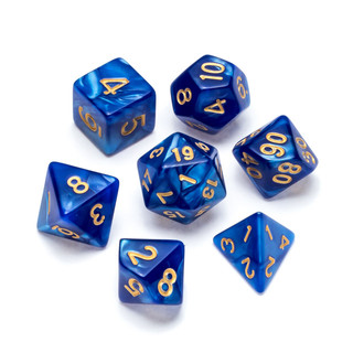 Pearl Series Dice_ Blue - Numbers_ Gold.
