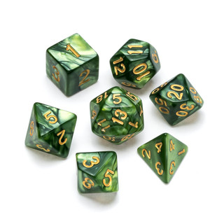 Pearl Series Dice_ Green - Numbers_ Gold