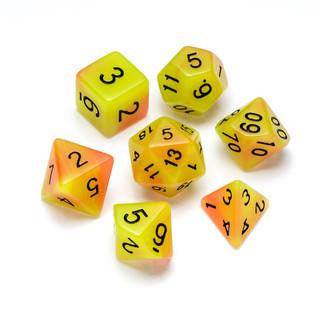 Flourescent Series Dice: Orange & Yellow - Numbers: Black