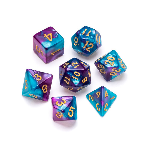 Marble Series Dice: Pale Blue & Purple -