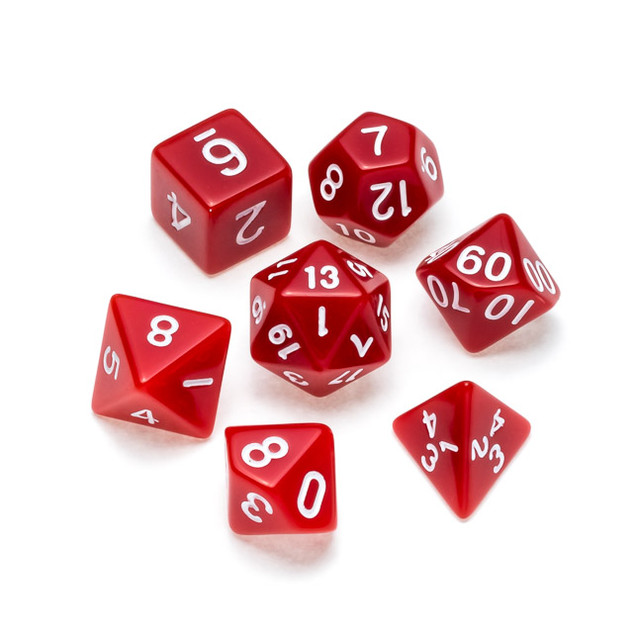 Opaque Series Dice: Red - Numbers: White