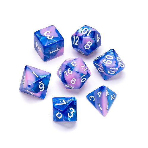 Marble Series: Blue & Pink - Numbers: White