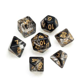 Nebula Series Dice: Black - Numbers: Gol
