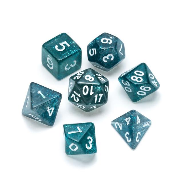 Glitter Series Dice: Dark Blue - Numbers: White