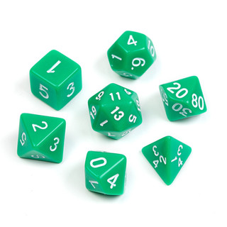 Opaque Series Dice_ Green_Numbers_ White