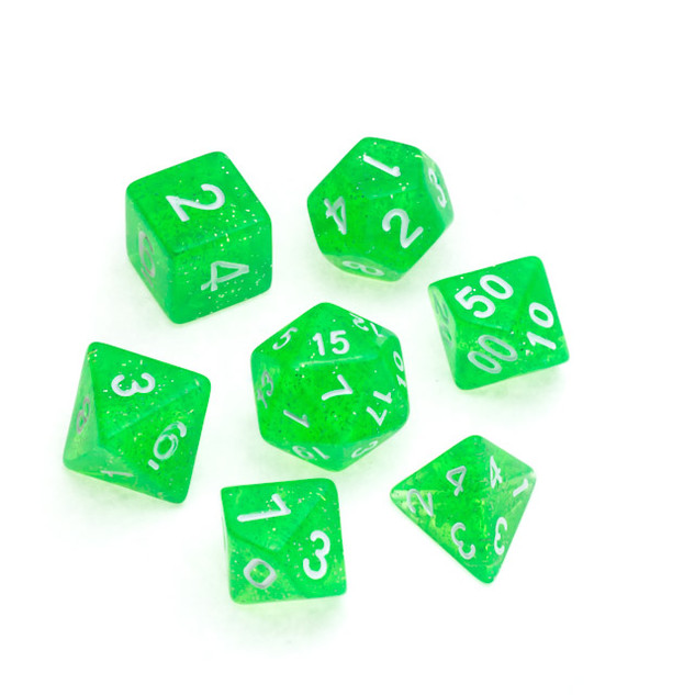 Glitter Series Dice: Bright Green - Numbers: White
