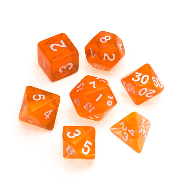 Transparent Series Dice: Orange - Number