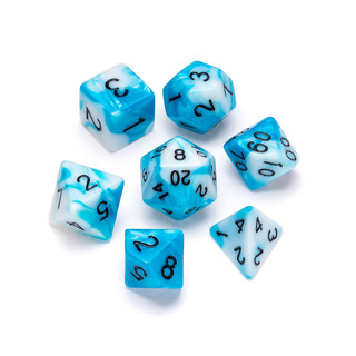 Marble Series Dice: Blue & White - Numbe