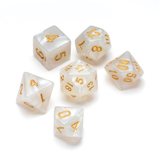 Pearl Series Dice_ White - Numbers_ Gold
