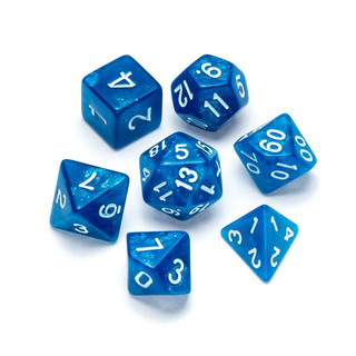 Glitter Series Dice: Blue - Numbers: White