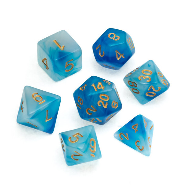 Nebula Series Dice: Blue - Numbers: Gold