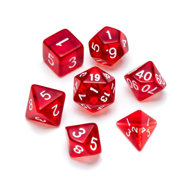 Transparent Series Dice: Red - Numbers:
