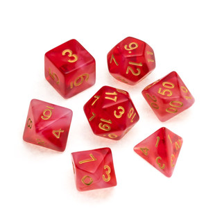 Nebula Series Dice: Red - Numbers: Gold.