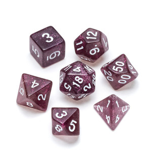 Glitter Series Dice: Purple - Numbers: White