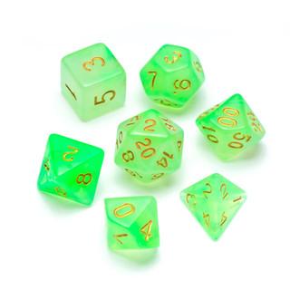Nebula Series Dice: Green - Numbers: Gol