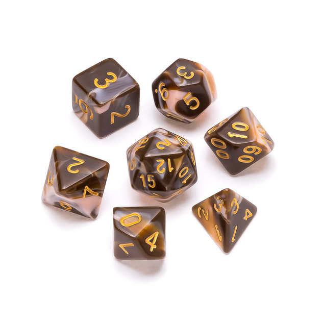 Marble Series Dice: Chocolate & Cream -