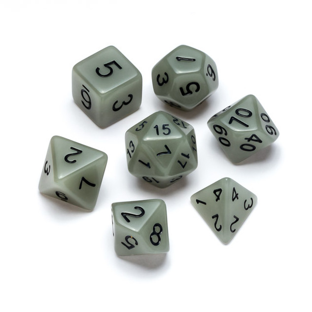 Flourescent Series Dice: White - Numbers: Black