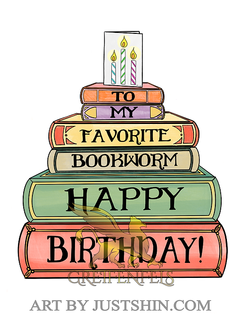 Greeting card: Bookworm