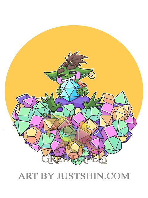 Greeting card: Dice goblin