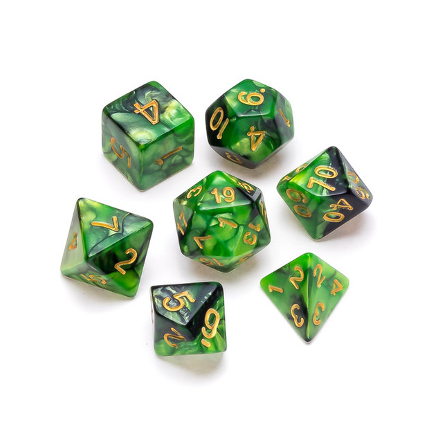 Marble Series Dice: Green & Black - Numb