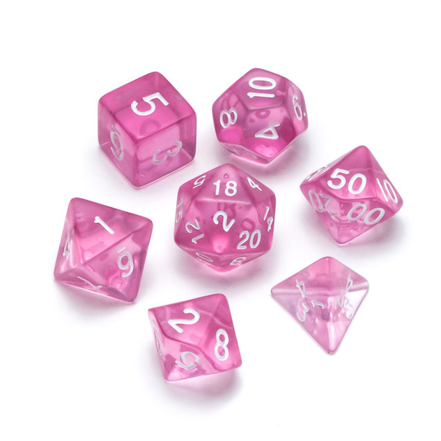 Transparent Series Dice: Pink - Numbers: