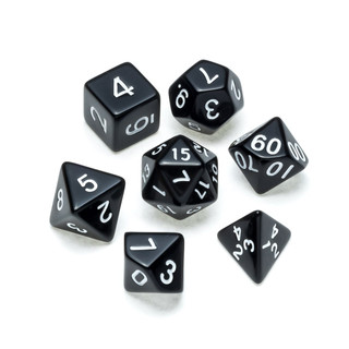 Opaque Series Dice: Black - Numbers: Whi
