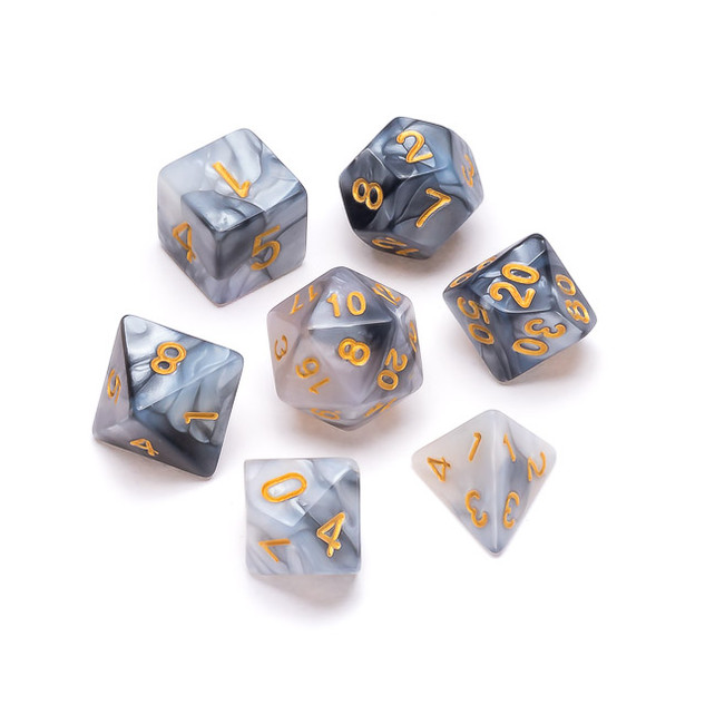 Marble Series Dice: Black & Grey - Numbers: Gold