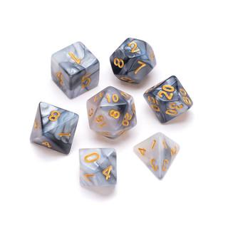 Marble Series Dice: Black & Grey - Numbers: Gold