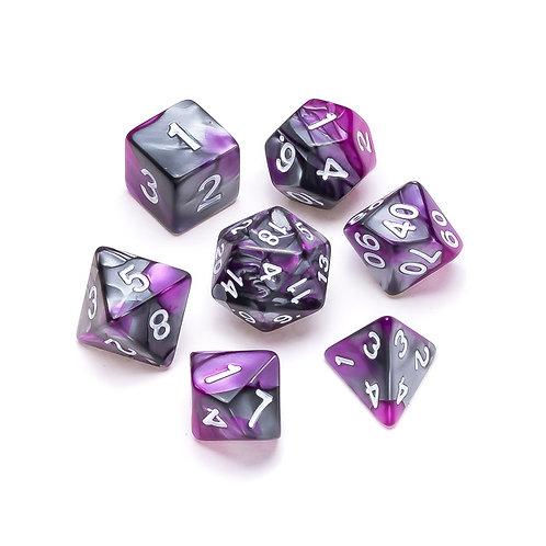 Marble Series: Purple & Grey - Numbers: White
