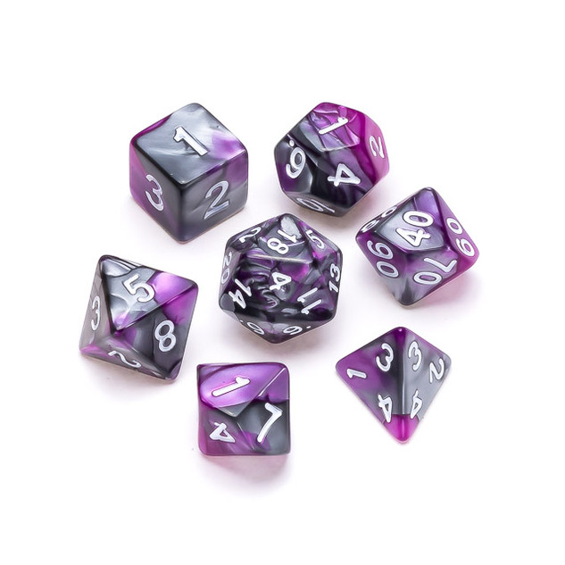 Marble Series Dice: Purple & Grey - Numb