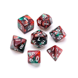 Marble Series Dice: Red & Green - Number