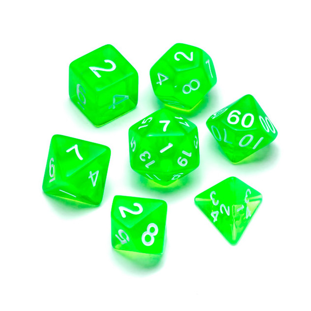 Transparent Series Dice: Green - Numbers