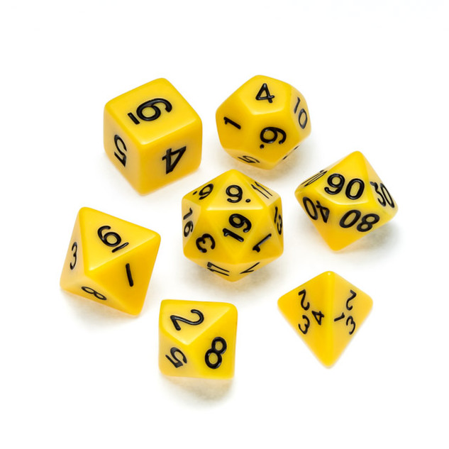 Opaque Series Dice: Yellow - Numbers: Bl