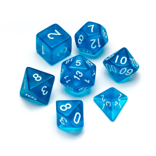 Transparent Series Dice: Blue - Numbers: