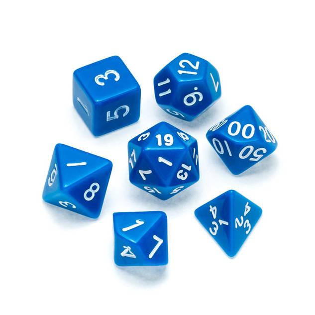 Opaque Series Dice: Blue - Numbers: Whit