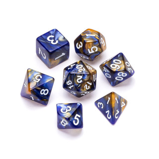 Marble Series Dice: Blue & Gold - Number