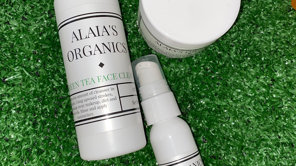 ALAIA'S ORGANICS GREEN TEA CLEANSER, FACIAL MOISTURIZER & EYE SERUM