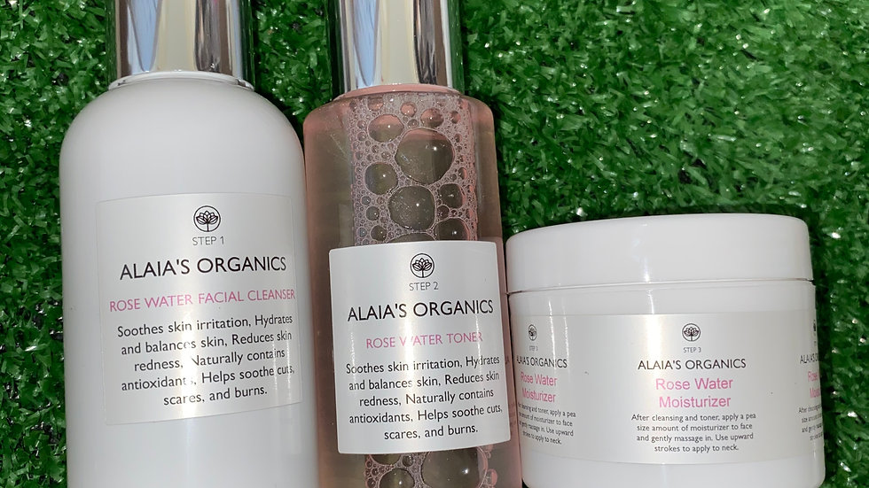 ALAIA'S ORGANICS ROSE WATER CLEANSER, FACIAL TONER & SERUM