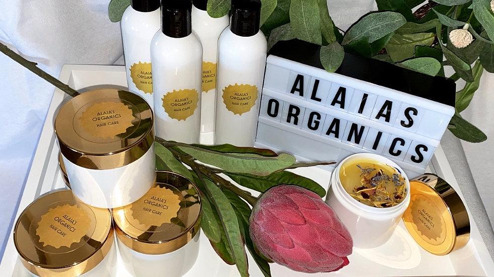 ALAIA'S ORGANICS HAIR SHAMPOO, CONDITIONER, NOURISHING HAIR OIL & GROWTH BALM