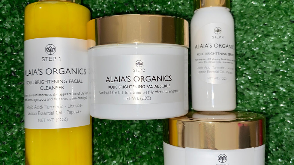 ALAIA'S ORGANICS BRIGHTENING SKIN CARE KIT: CLEANSER, SCRUB,FACE CREAM, SERUM